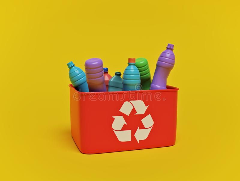 Plastic garbage for recycling. 3d rendering vector illustration