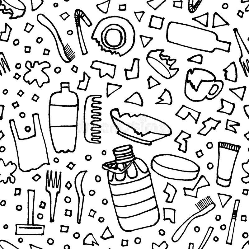 Plastic garbage seamless pattern black outline isolated on white background. The problems with chemical wastes disposal. The stock illustration