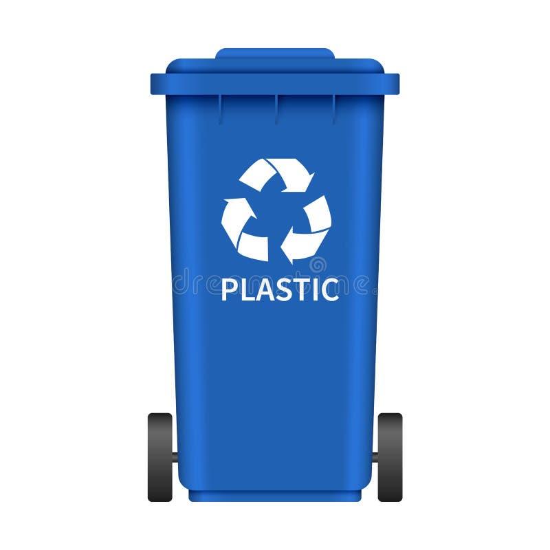 Plastic garbage wheel box mockup, realistic style. Plastic garbage wheel box mockup. Realistic illustration of plastic garbage wheel box vector mockup for web vector illustration