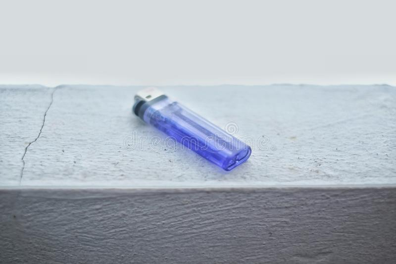 Plastic gas lighter for cigarette smoker. stock photography