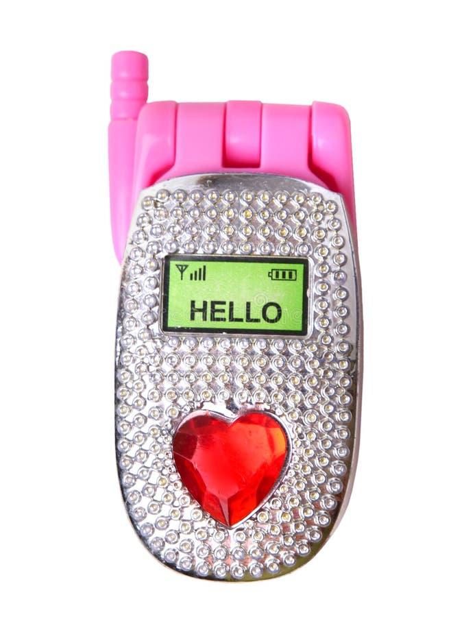 Plastic geïsoleerd telefoonstuk speelgoed stock afbeelding