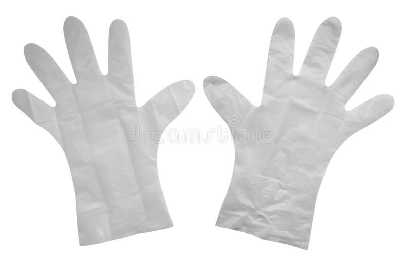 Plastic geïsoleerde handschoenen stock foto