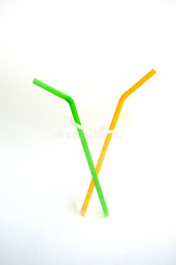 Plastic gebruikt stro royalty-vrije stock afbeeldingen