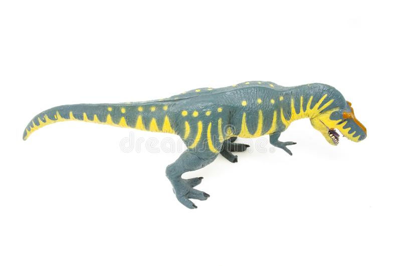 Plastic Gele Blauwe Tyrannosaurus Rex Dinosaur Toy Above Top royalty-vrije stock foto's
