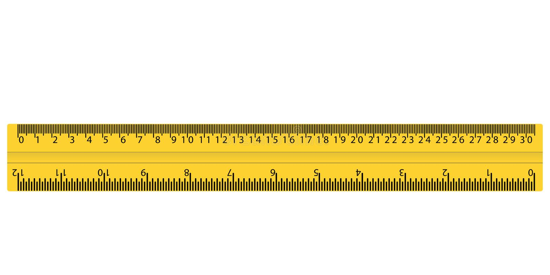 Plastic gele heerser met cm en duim vector illustratie