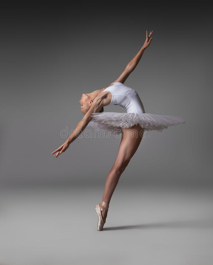 Plastic girl in pointe shoes. A plastic girl in pointes and tutu makes a graceful pose stock photography