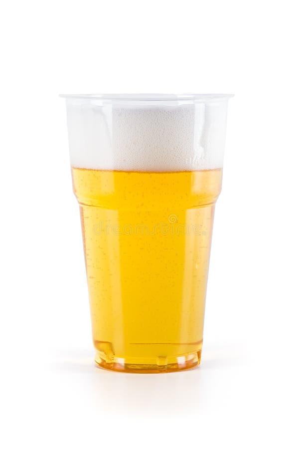 Plastic glas bier stock afbeeldingen