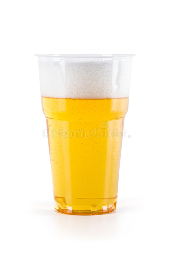 Plastic glass of beer stock images