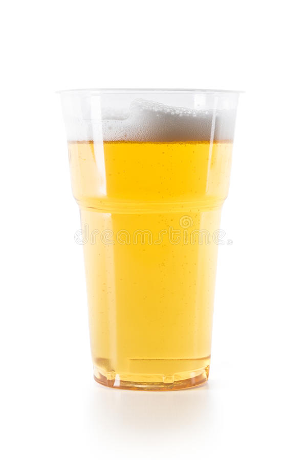 Plastic glass of beer royalty free stock images