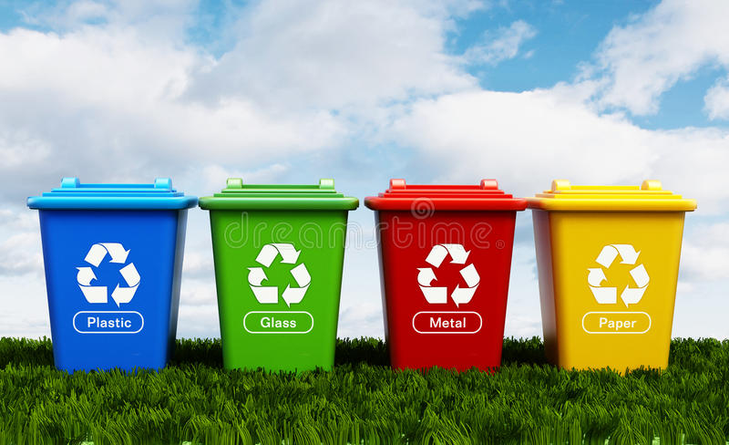 Plastic, glass, metal and paper recycle bins stock illustration