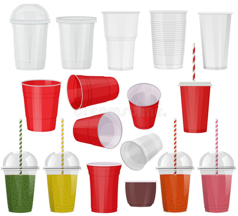 Plastic glass vector empty plastic-cup or blank coffee-cup mockup disposable drinks container for branding illustration royalty free illustration