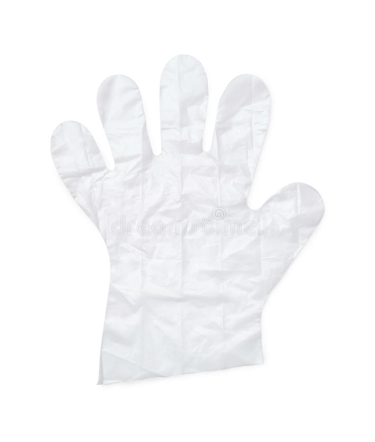 Plastic glove. Disposable plastic glove isolated on white stock image