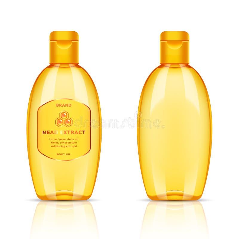 Plastic gouden transparante fles voor lichaamsolie, shampoo, zeep, gel, veredelingsmiddel, balsem, lotion, schuim, room op wit stock illustratie