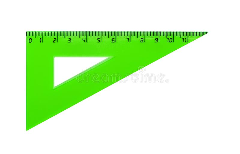 Plastic green triangle for measuring centimes royalty free stock photography