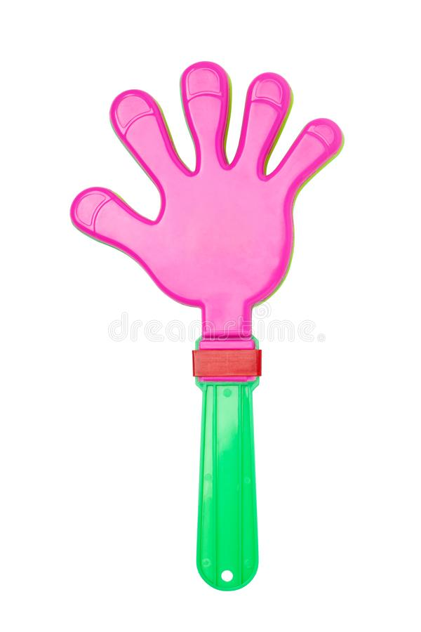 Plastic hand clap toy. Isolated on white background stock images