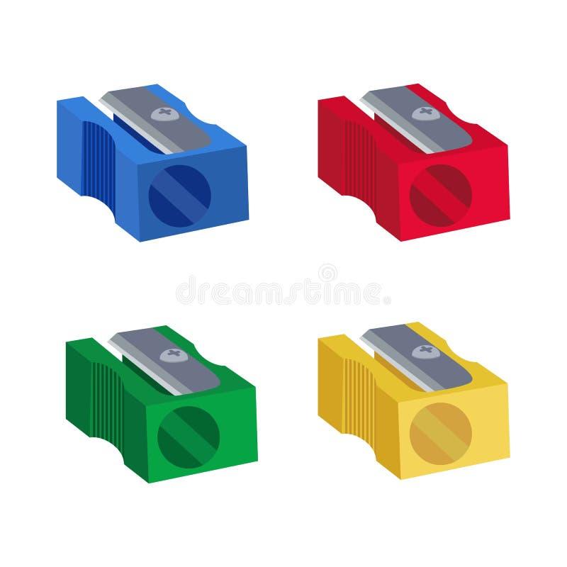 Plastic handscherper Rode, gele, blauwe, groene kleuren Vlakke stijl Vector illustratie vector illustratie