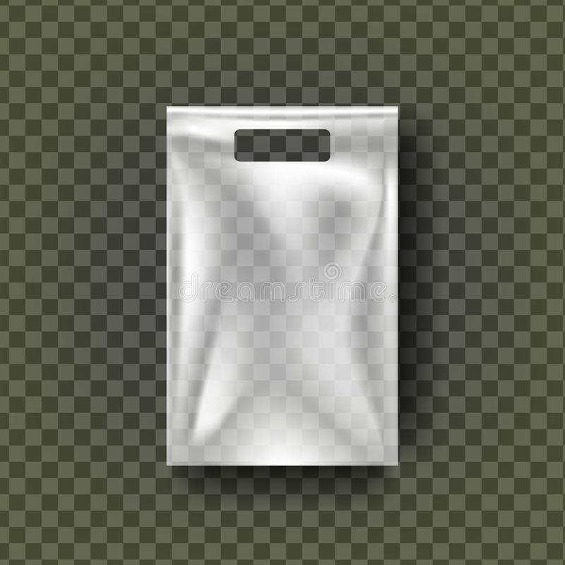 Plastic Hang Pouch Vector. Transparent Pocket Wrap. Empty Bagged Product Polyethylene Mock Up Template. Nylon Doy Pack. Branding Package Illustration royalty free illustration