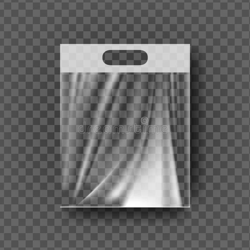 Plastic Hanger Pocket Bag Vector. Transparent Hang Bag Wrap. Empty Product Polyethylene Mock Up Template. Nylon Doy Pack. Branding Package Illustration stock illustration