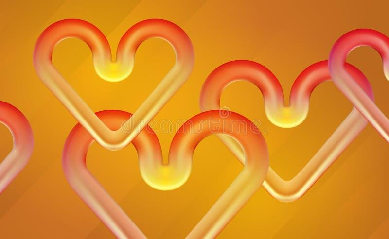 Plastic harten van de banner 3D steen voor Valentijnskaartendag, chaotisch rood, geel hart als achtergrond De ambertonen van het  vector illustratie