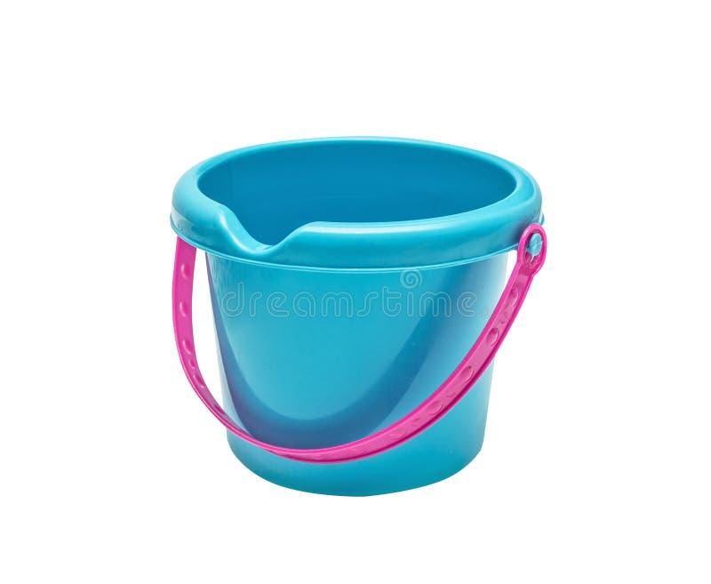 Plastic heldere stuk speelgoed blauwe emmer royalty-vrije stock afbeeldingen