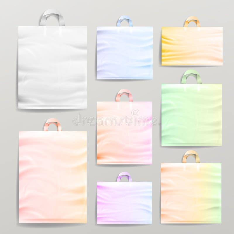 Plastic het Winkelen Realistische die Zakken met Handvatten worden geplaatst Kleurrijke Lege Opnieuw te gebruiken Dichte Omhoogga vector illustratie