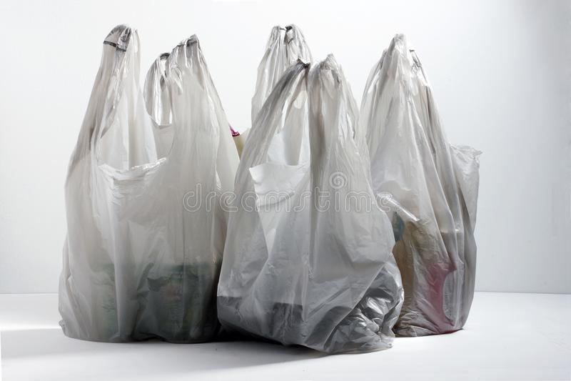 Plastic het winkelen zakken stock foto's