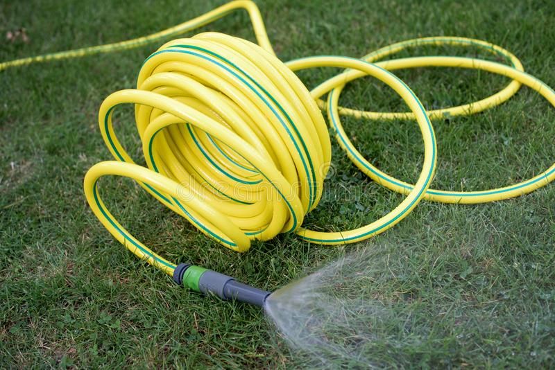 Plastic hose pipe. Yellow plastic hose pipe in the garden stock photos