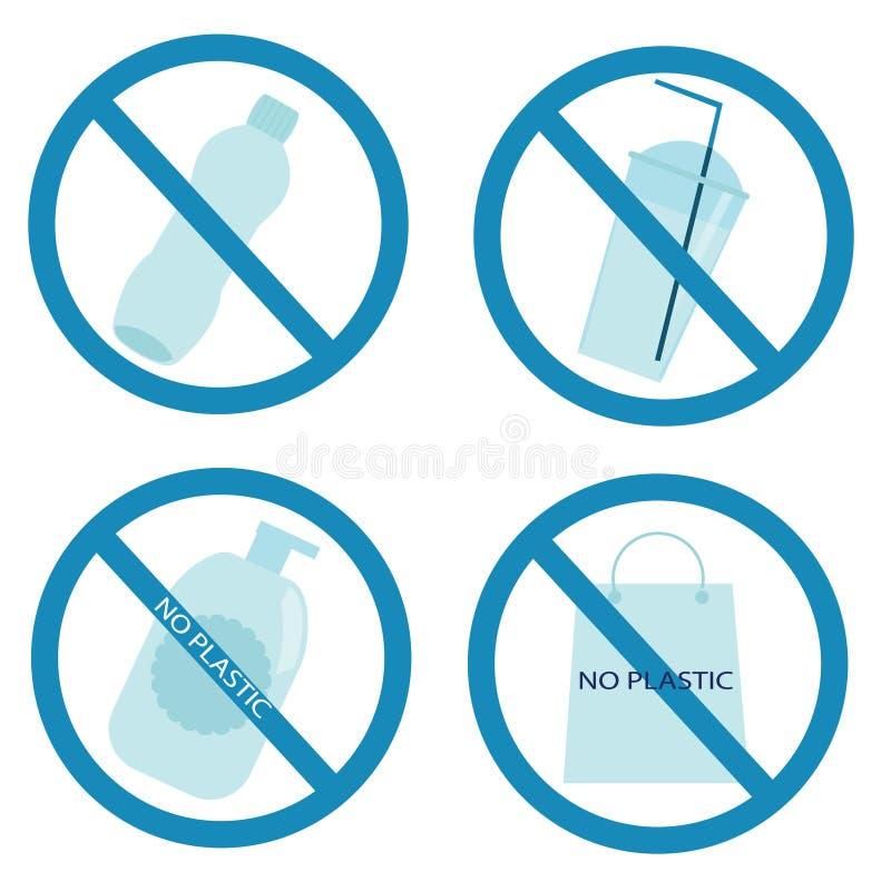 Plastic huisvuil verboden teken niet rekupereerbaar Afval, plastic afval Ecologie, milieubeschermingthema stock illustratie