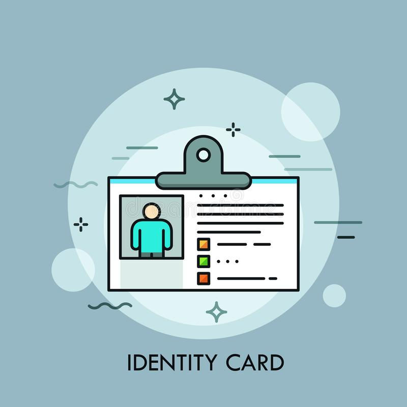 Plastic identity card, ID or passport with photo. Concept of personal identification or authentication, document vector illustration