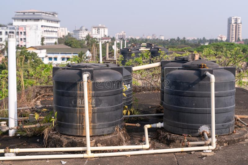 Plastic, isolated, watertank, drain, factory, pipeline, liquid, tubes, roofing, roof top, beautiful, high, view, above, cityscape. The photo was taken during my stock photo