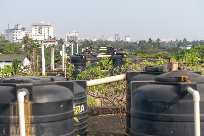 Plastic, isolated, watertank, drain, factory, pipeline, liquid, tubes, roofing, roof top, beautiful, high, view, above, cityscape. The photo was taken during my royalty free stock photo