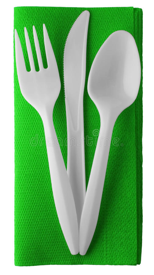 Download Plastic Knife Fork And Spoon On Napkin - Isolated Stock Image - Image: 17349985