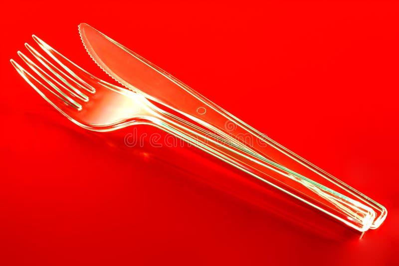 Plastic Kniv Och Gaffel Fotografering för Bildbyråer