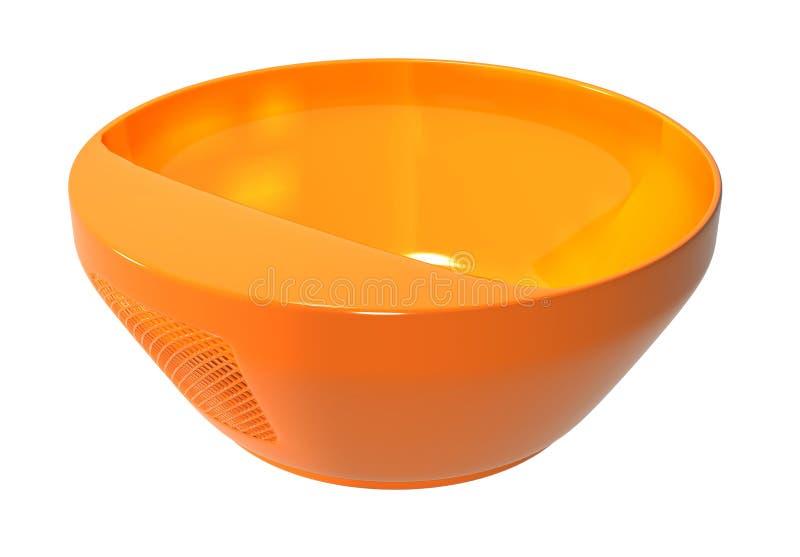 Plastic kom stainer oranje kleur royalty-vrije stock afbeelding