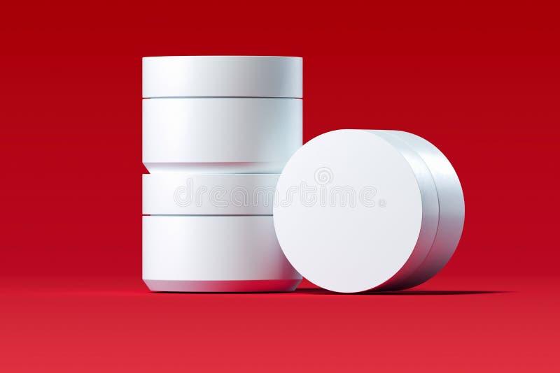 Plastic Kosmetische Flessen voor room, lotion op rode achtergrond het 3d teruggeven vector illustratie
