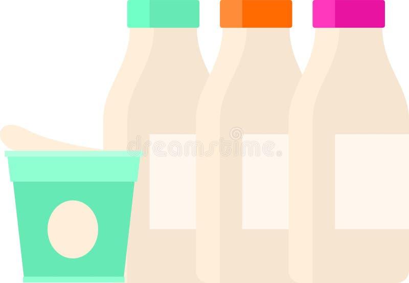 Plastic kruik van zure roomproduct met verse melk stock illustratie