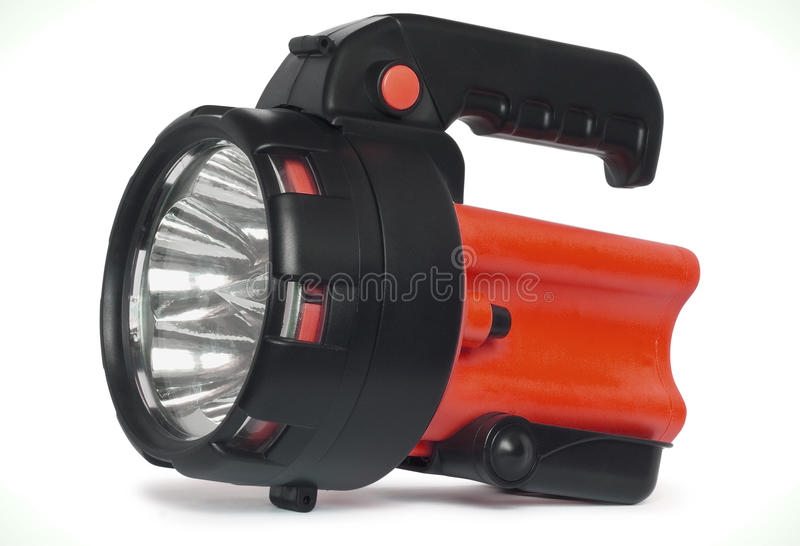 Plastic LED torch isolated royalty free stock photos