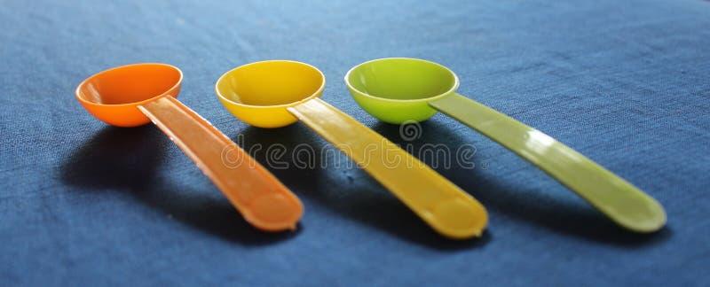 Plastic lepels stock foto's