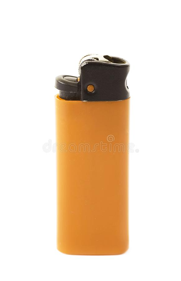 Plastic lighter isolated. Over the white background royalty free stock image