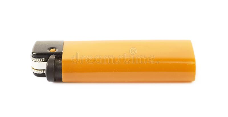 Plastic lighter isolated. Over the white background stock photo