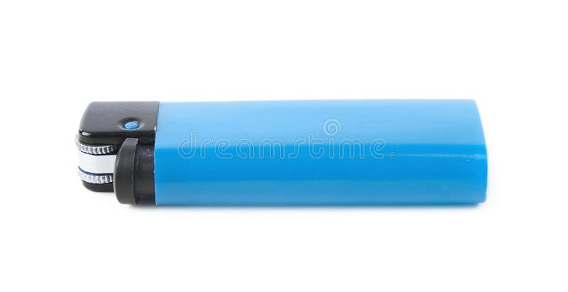 Plastic lighter isolated. Over the white background stock photography