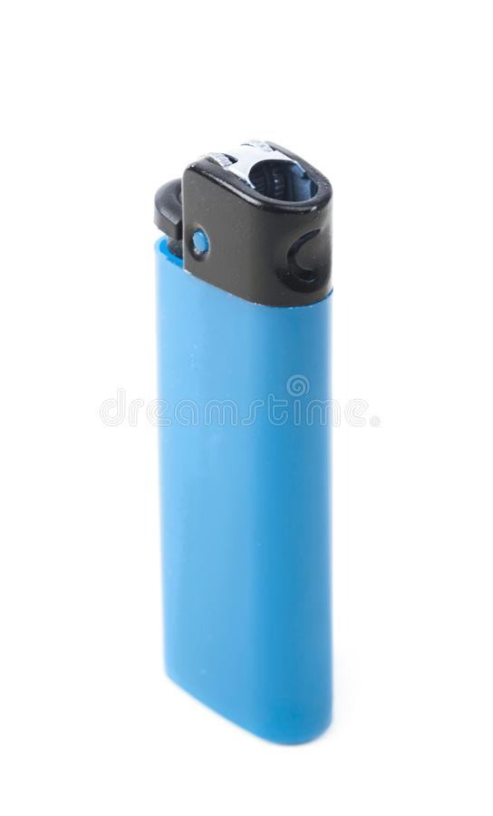 Plastic lighter isolated. Over the white background stock photos