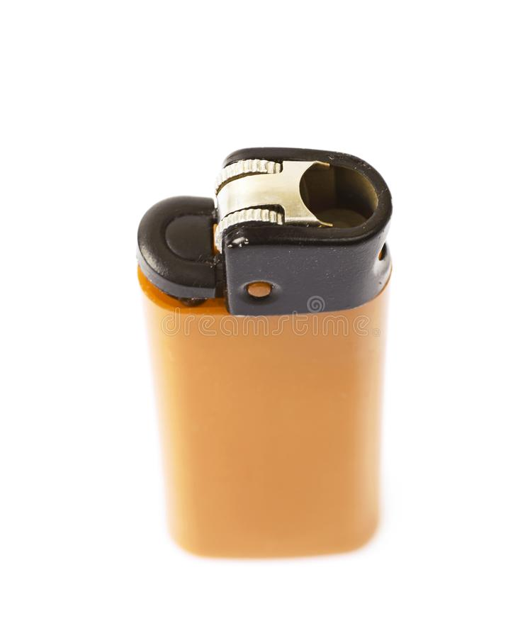 Plastic lighter isolated. Over the white background royalty free stock images