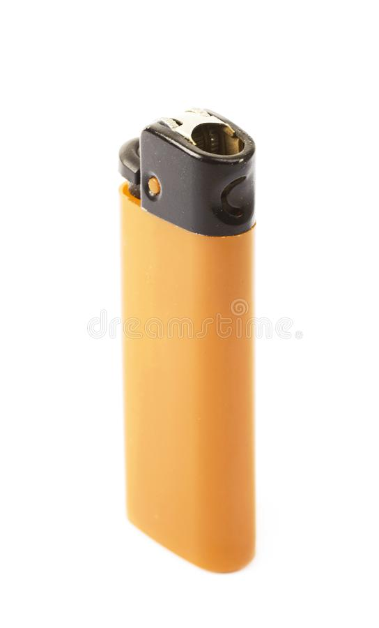 Plastic lighter isolated. Over the white background stock image