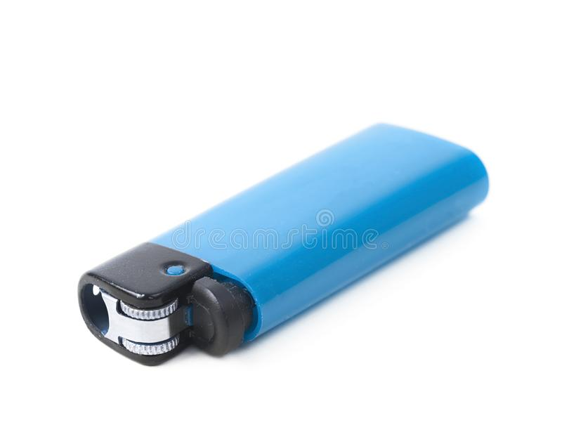 Plastic lighter isolated. Over the white background stock images