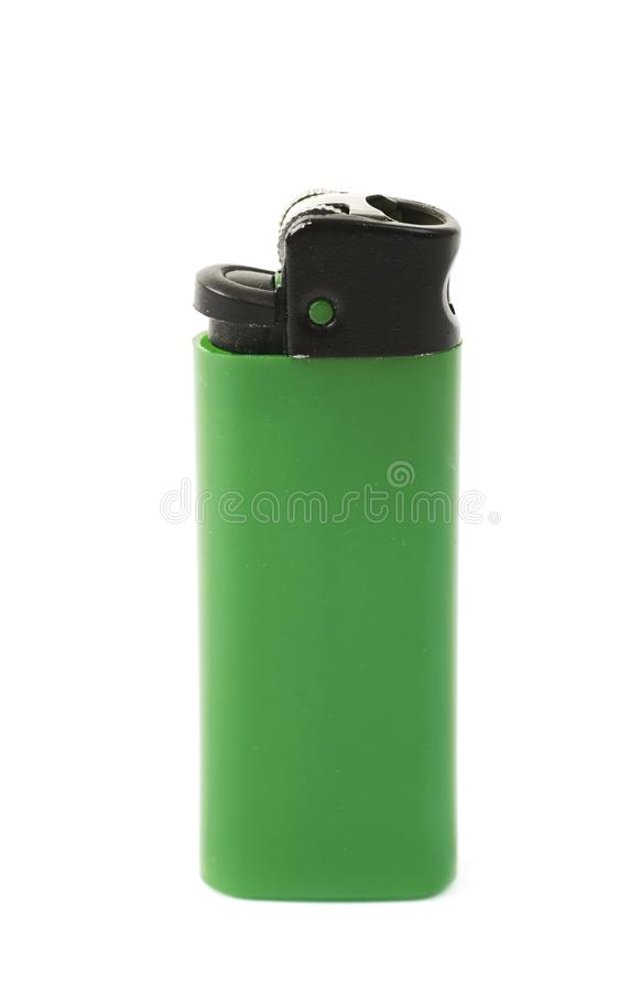 Plastic lighter isolated. Over the white background royalty free stock photos
