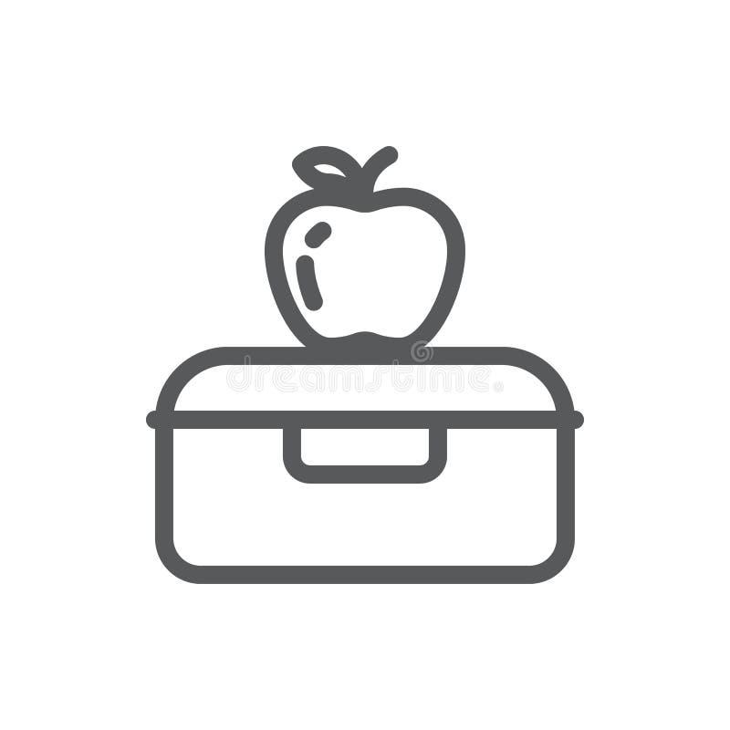 Plastic lunchdoos met appel voor school of het werk gezond perfect de lijnpictogram van het onderbrekingspixel met editable slag stock illustratie