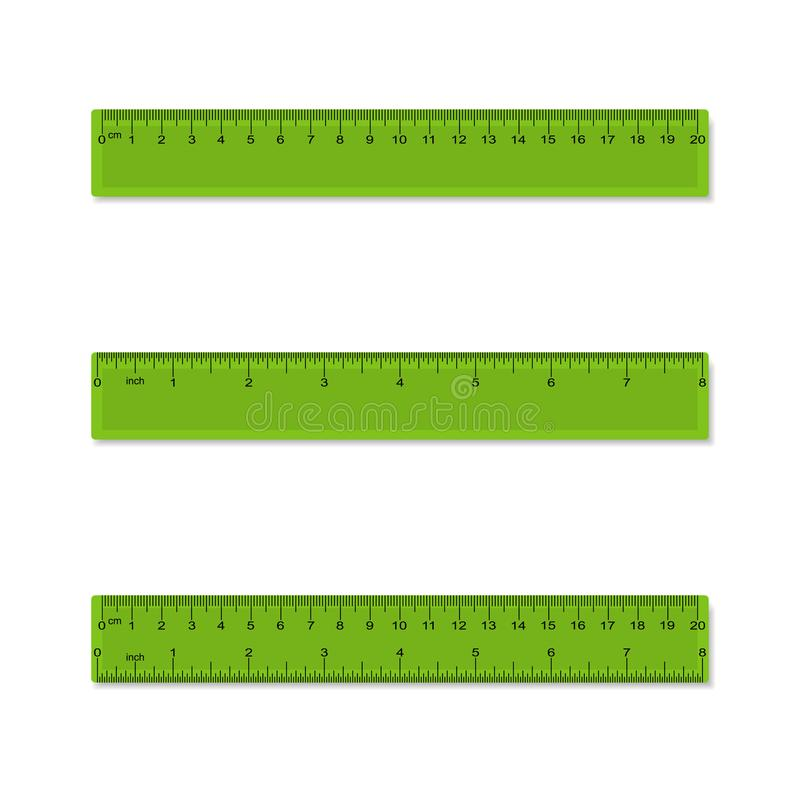 Plastic measuring rulers in centimeters, inches, millimeter - aparted and combined. Vector. Plastic measuring rulers in centimeters, inches, millimeter vector illustration
