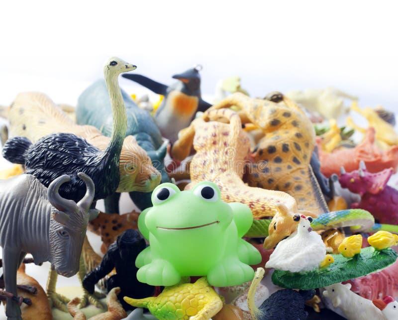 Plastic messy animals toys. Plastic animals Children's toys royalty free stock photos