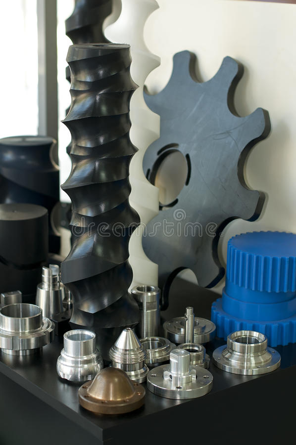 Plastic And Metal Machine Parts. Stock Photos